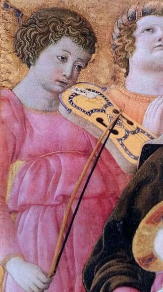 3 string vielle, a detail from Domenico di Bartolo's painting, Madonna of Humility, Italy, 1433.