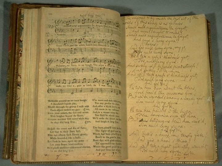 Auld lang syne in James Johnson's Scots Musical Museum with Robert Burns' annotations.