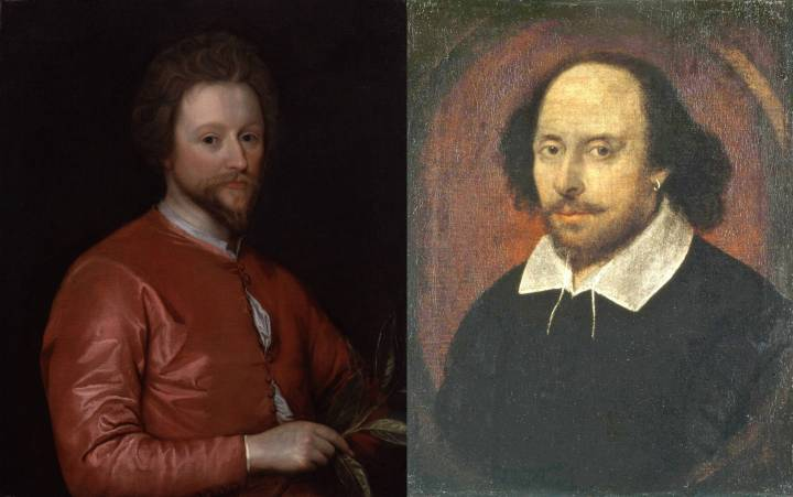 Playwrights John Fletcher (1579–1625) and William Shakespeare (1564–1616).