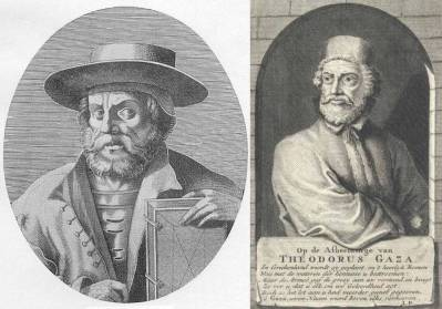 Manuel Chrysoloras (left) and Theodorus Gaza (right), two Byzantine émigrés to Italy who furthered the Italian renaissance. (Engravings by Nicolas III de Larmessin, 1640–1725, and anonymous.)