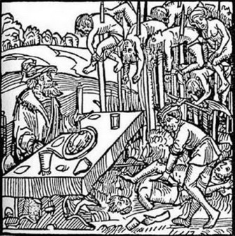 Vlad III eats his meal outside so he can watch his impaled victims die on stakes. A woodcut from a pamphlet of 1499.