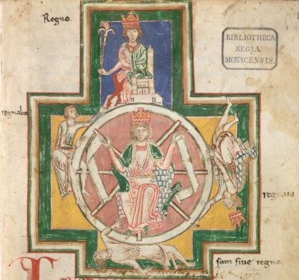 The wheel of fortune from the Carmina Burana, a collection of goliard songs.