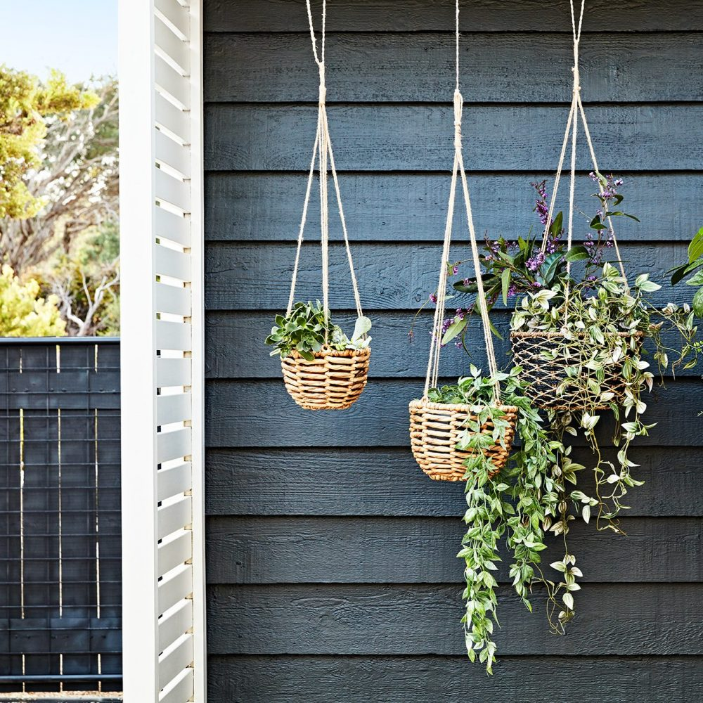 outdoor space for good mental health with hanging plants