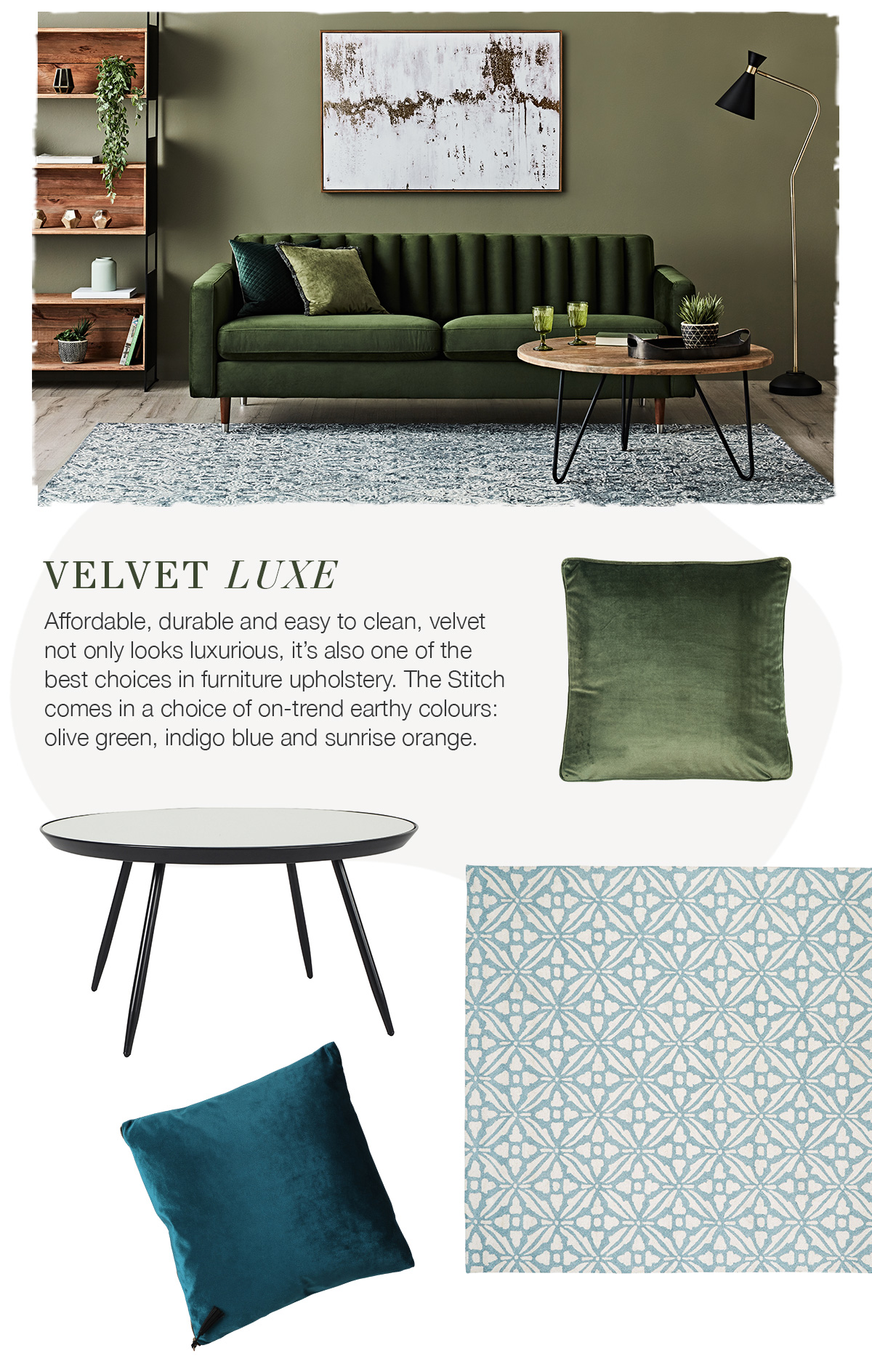 Up the Luxe with the Stitch Velvet Sofa - olive green sofa