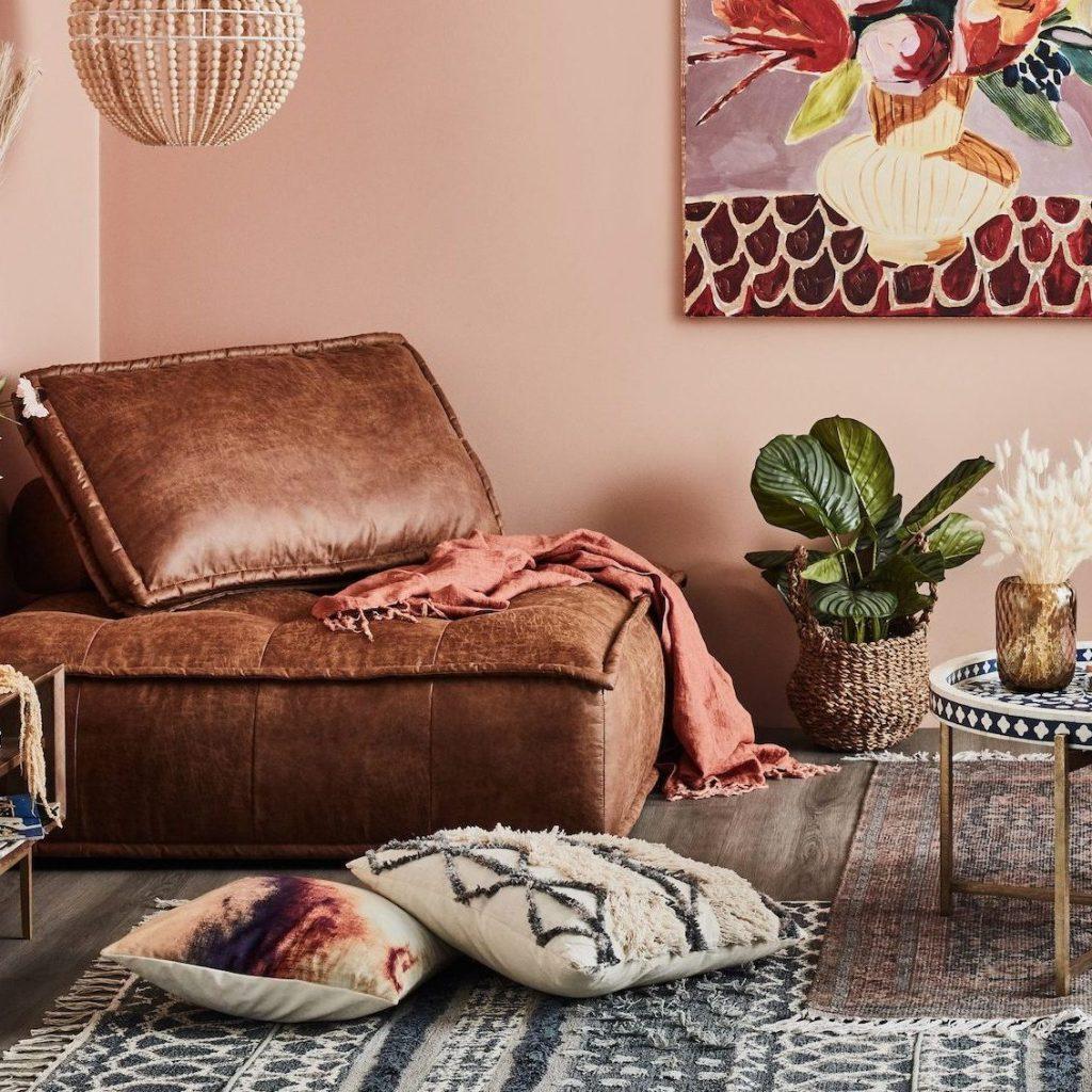 Minimalist faux leather sofa seat