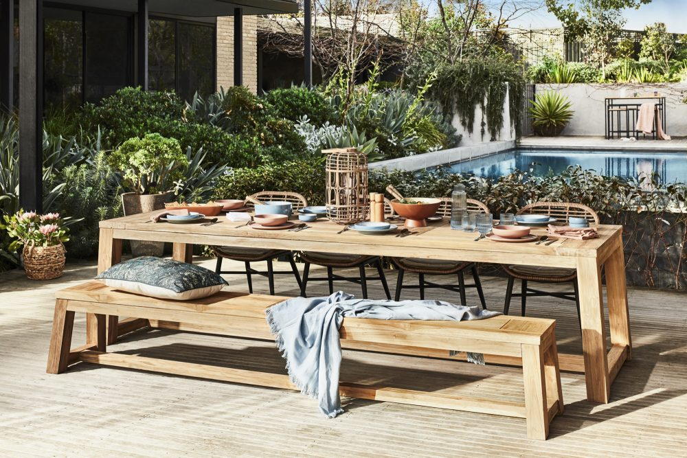 Favourite Outdoor Furniture by Heather Nette King with the Reclaimed Teak Splay Base Outdoor Dining Table