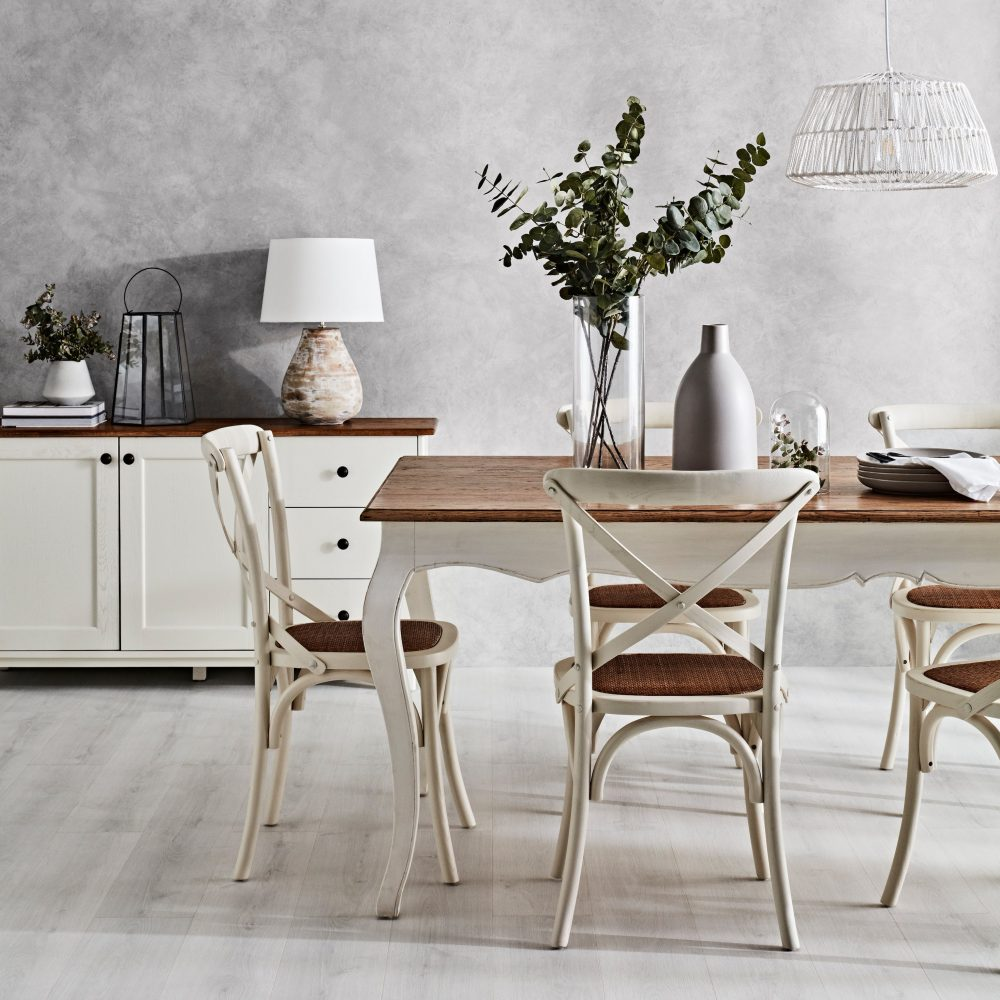 Monochrome Dining Zone with light and coastal