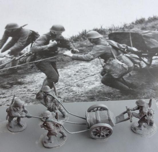 4 Dutch Army infantry with Machine gun or Mortar cart.