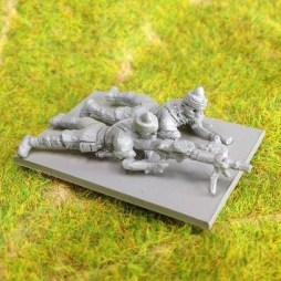 2 x Indian Infantry prone firing Lewis gun on bi-pod