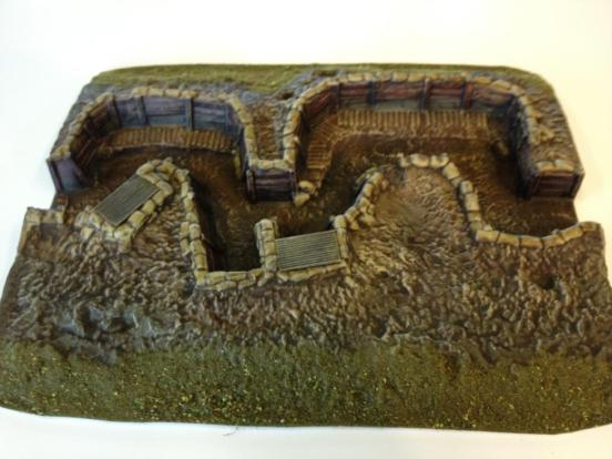 British trench with 2 firing bays to front Parapet & 3 shelters