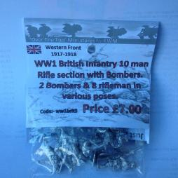 WW1 British infantry 10 man Riffle Section with Bombers -