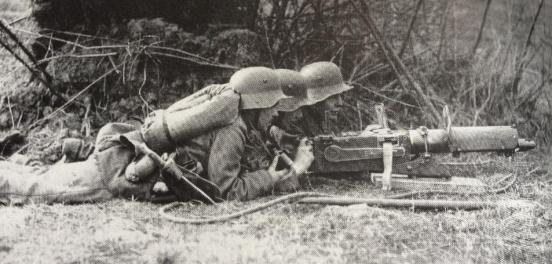 MG08 MMG on light trench sledge mount, prone with 3 man crew