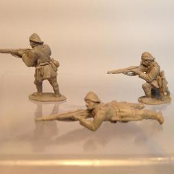 Turkish infantry firing Rifle kneeling wearing sun helmet