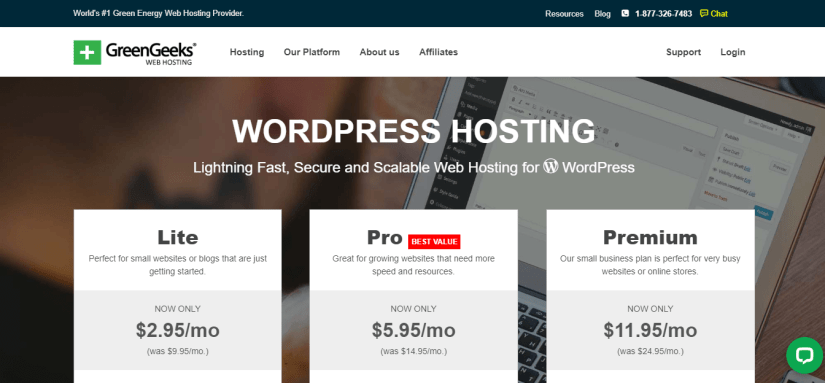 GreenGeeks eco-friendly WordPress Hosting