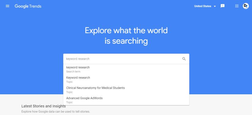 Google Trend - Free Keyword research tool Google