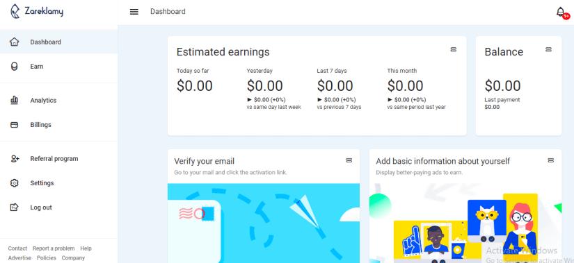 Zareklamy Website Dashboard