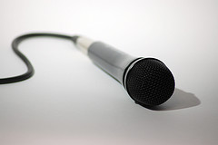 microphone lying on table