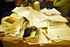jumbled pile of papers