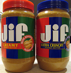 two jars of jif peanut butter