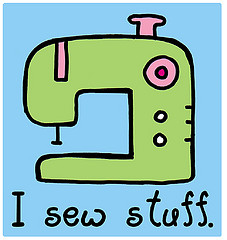 "cartoon sewing machine with the caption ""I sew stuff"""