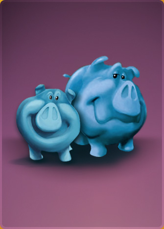 two blue cartoon pigs smiling at camera
