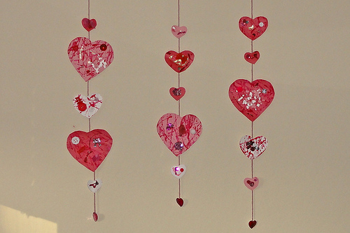 mobile made of paper hearts