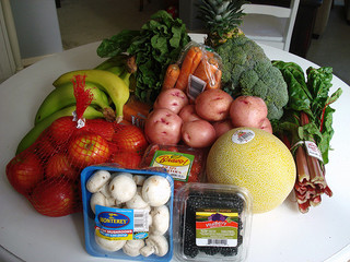 pile of fruits and vegetables from the store