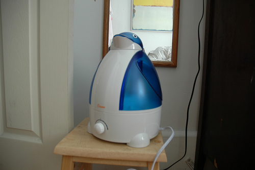 small humidifier, sitting on table