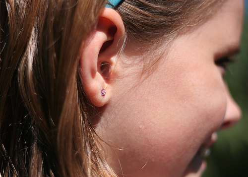 girl's ear that has been pierced