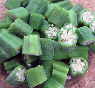 cut okra on plate