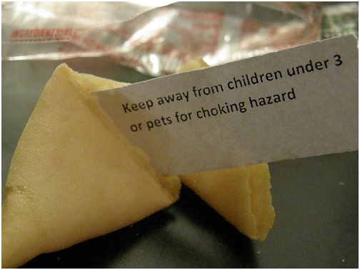 fortune cookie with fortune warning against choking hazards