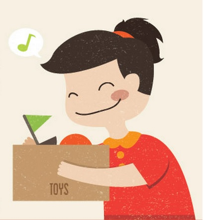 illustration of child happily putting toys into box