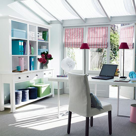 home office in white with desk, book case, windows