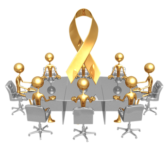 cartoon figures seated around boardroom style table, gold issue ribbon floating above them