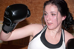 girl doing muay thai training