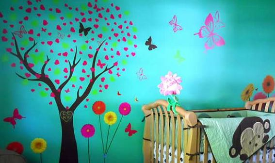 child's room with decals decorating wall