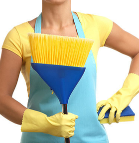 woman wearing gloves holding sponge and broom