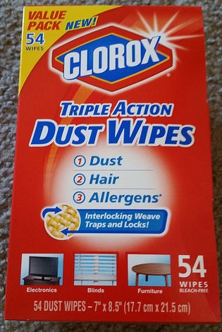 box of Clorox Triple Action Dust Wipes