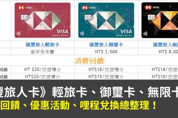 匯豐旅人卡(輕旅卡、御璽卡、無限卡)優惠總整理,哩程累積分析