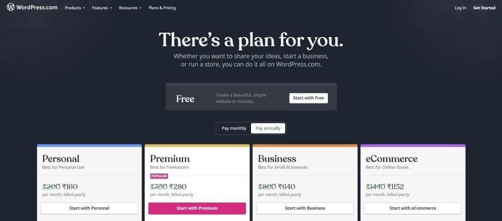 WordPress pricing plans for website