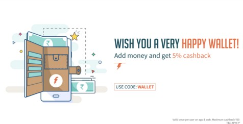 Freecharge WALLET – Get 5% Cashback On Adding Money