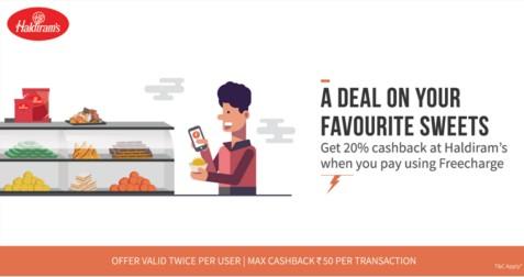 Freecharge Haldiram – Get 20% Cashback At Haldiram