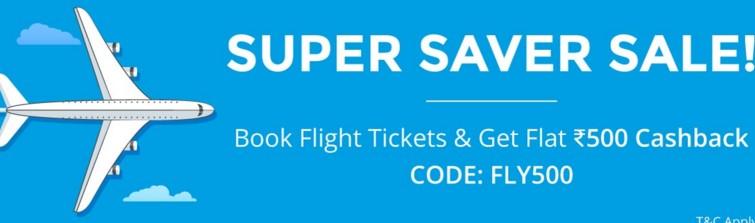 Paytm – Get Flat Rs.500 Cashback On Flights Booking