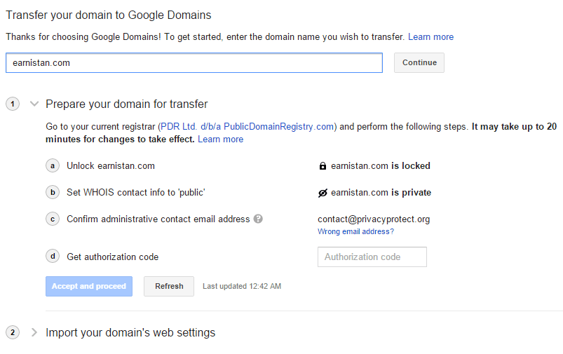 Transferring a domain to Google Domains