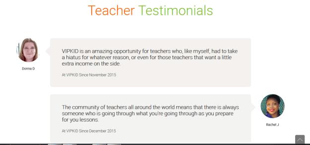 VIPKid teacher testimonials
