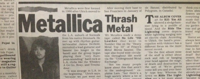 My first Metallica interview, back when they were too heavy for me