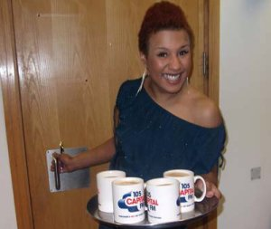 Jo Jo from Capital FM Yorkshire with new promo mugs!