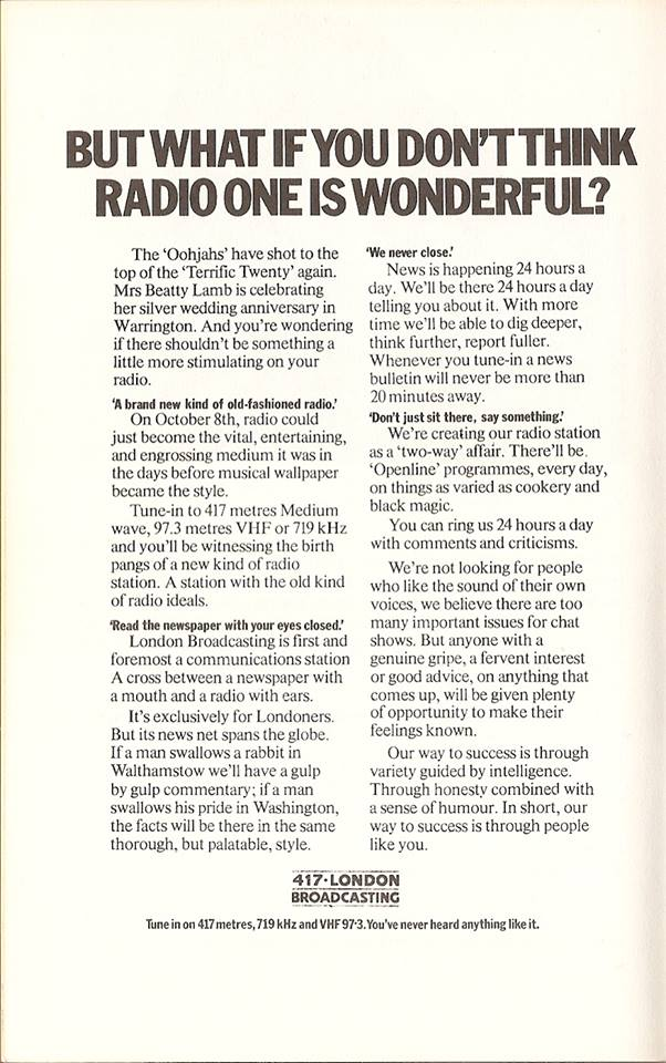 London Broadcasting ad from 70s