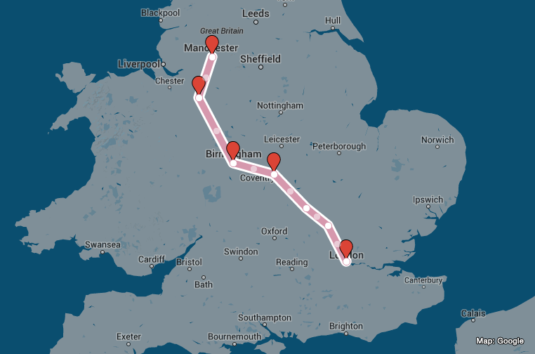 The route of the Virgin Radio Star