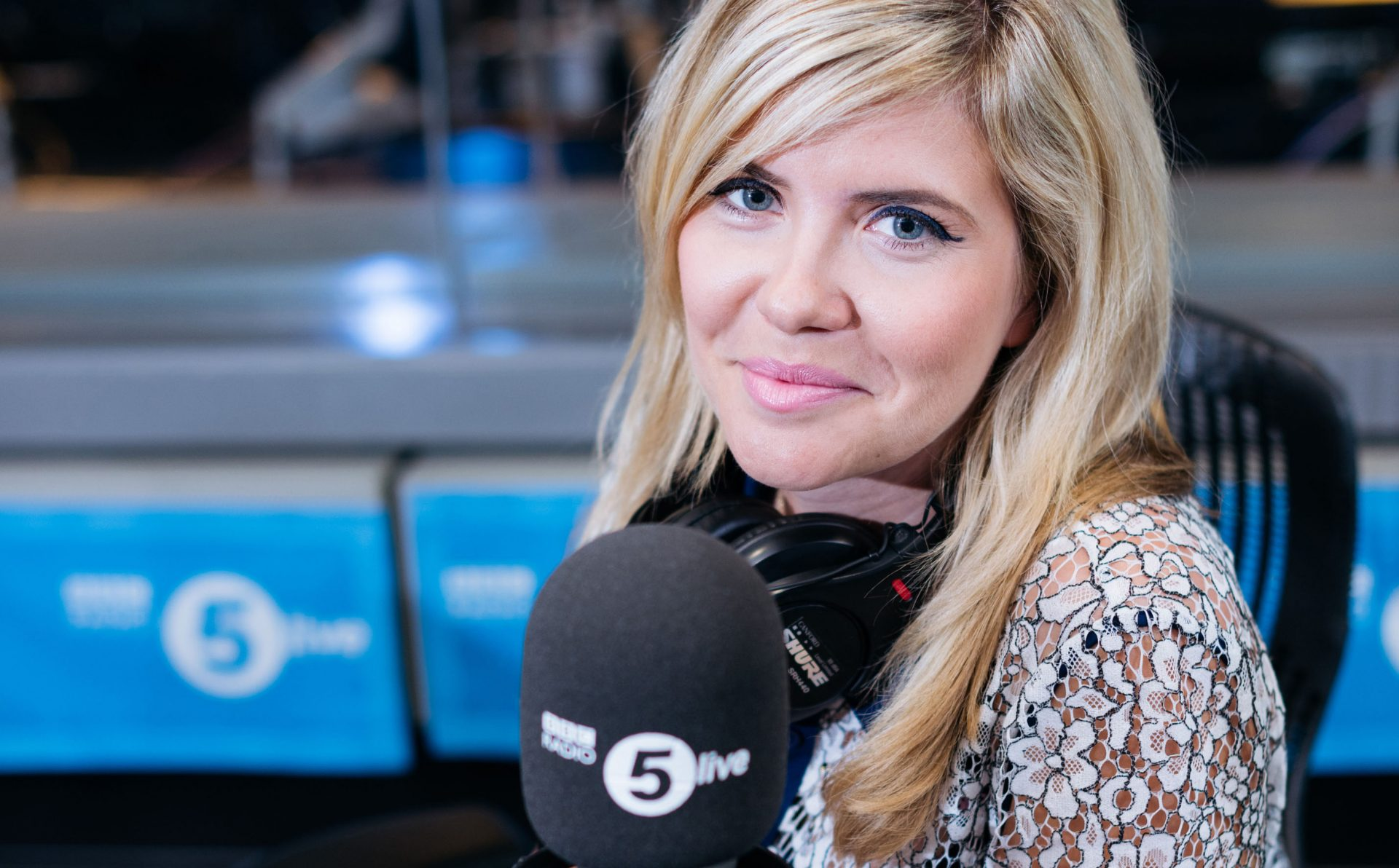 Emma Barnett at BBC Radio 5 Live. Image courtesy BBC.